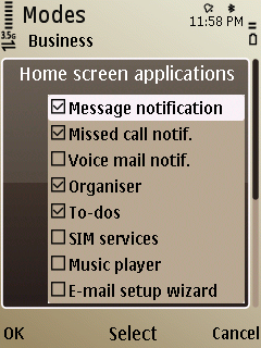 Nokia E52 Home screen plugins