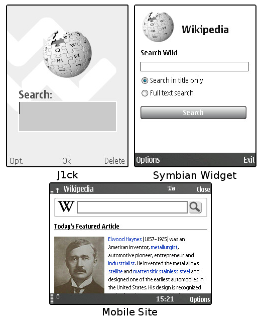 The search forms of all three Wikipedia applications, J1ck, S60 Widget, & the mobile site.