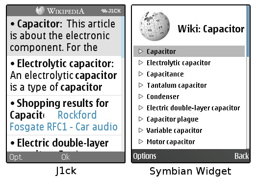 Comparing the search results of J1ck and the S60 widget.
