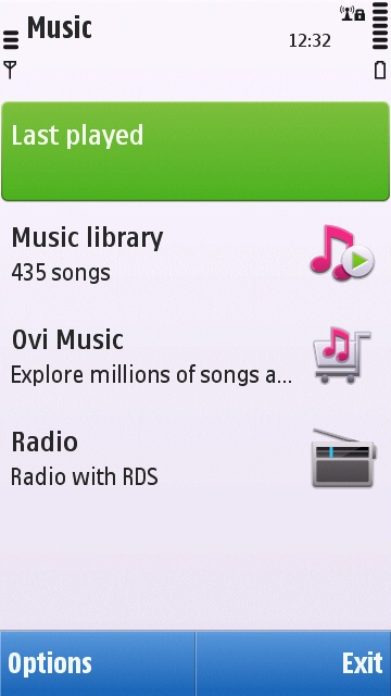 First screen of Symbian^1 Music application