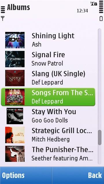 Symbian^1 Music application album list