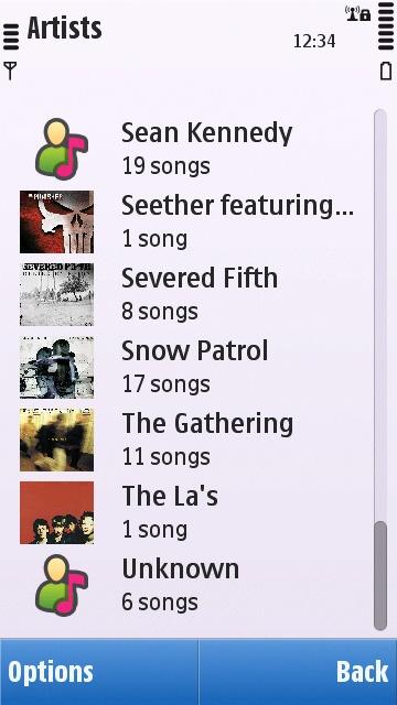 Symbian^1 Music application artist list