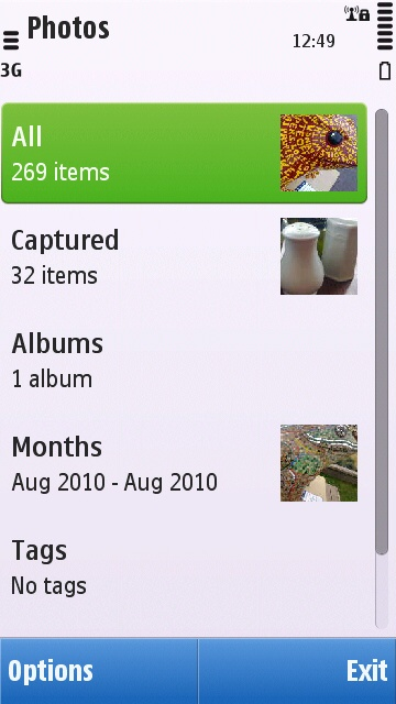 First page of the Symbian^1 photo gallery