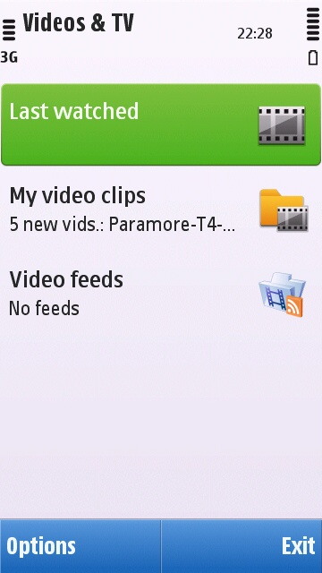 Main page of the Symbian^1 Videos & TV application
