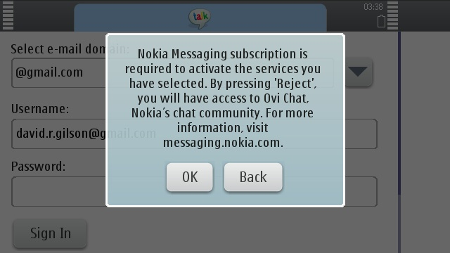 You can't use IM for Nokia if you don't use Nokia Messaging