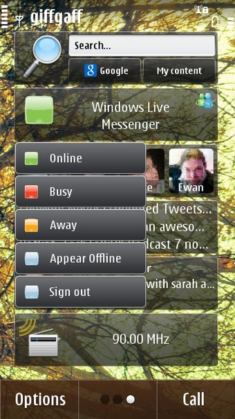 Changing your online status via the home screen widget