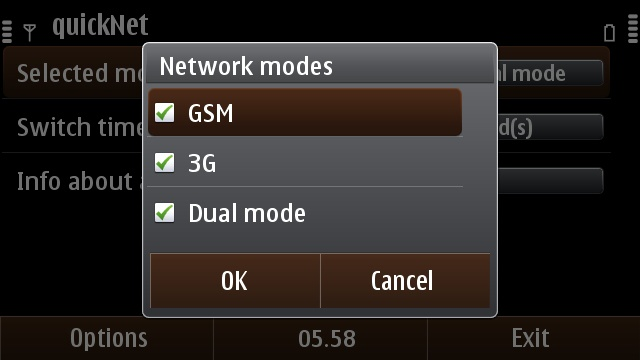 Selecting which network modes quickNet will cycle between