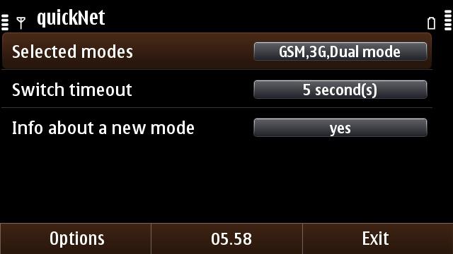 The settings menu in quickNet