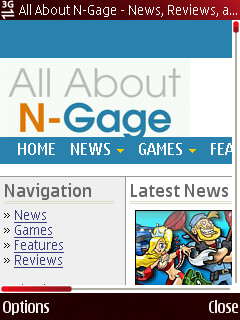 All About N-Gage website viewed through 5320 browser