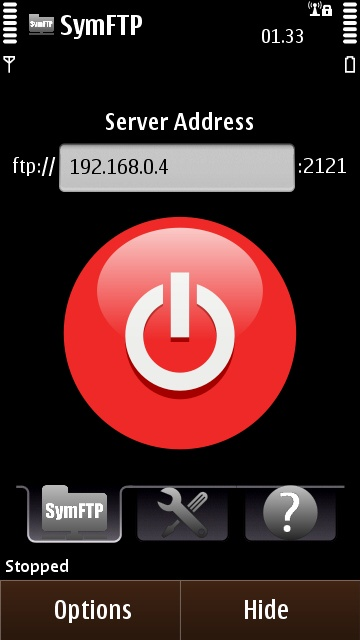 SymFTP's big red button - touch to activate the server