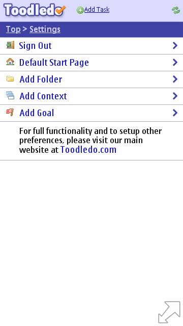 Toodledo Slim settings page