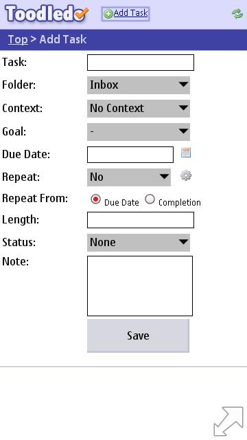 Toodledo Slim add task page