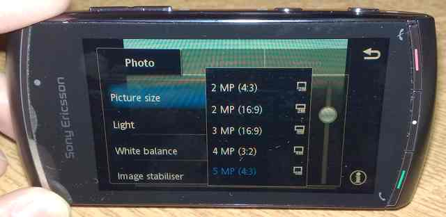 Vivaz Pro Camera UI: Image resolutions