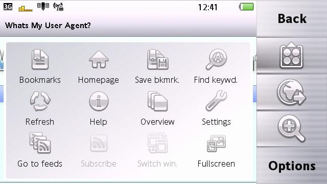 Vivaz Pro Web finger menu