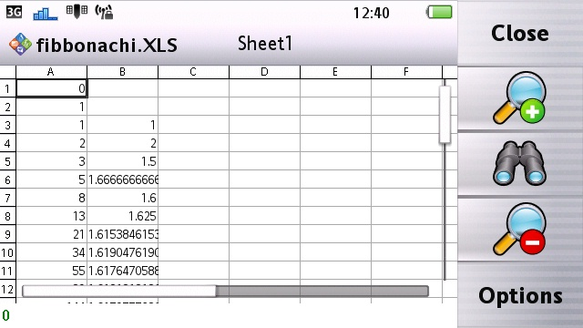 Vivaz Pro Quick Office 6.2 Spreadsheet