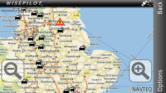 Vivaz Pro WisePilot map with traffic overlay