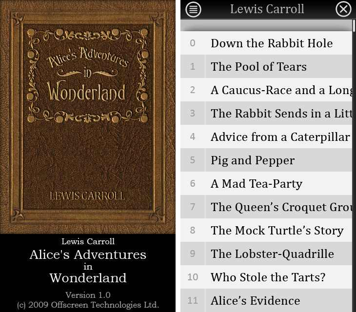Alice's Adventures in Wonderland e-book application