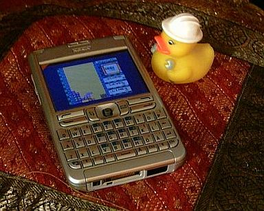 Virtual GameBoy running on a Nokia E61 next to a rubber duck