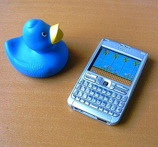 Sonic The Hedgehog running on an E61 with a rubber duck