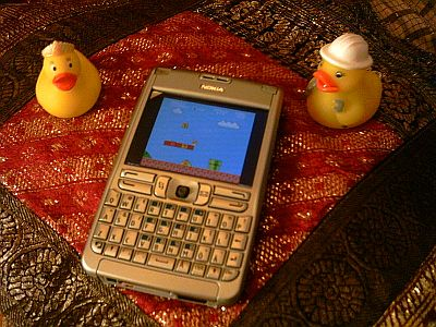 iNES running on a Nokia E61 with some rubber ducks