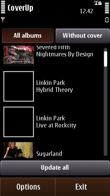 CoverUp's main user interface, listing all albums