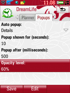 DreamLife - popup setting