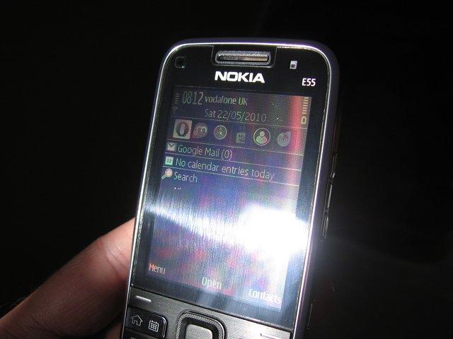 E55 transflective screen in direct sunlight