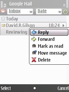 E55 E-mail application, message context menu