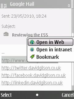 E55 E-mail application, URL context menu