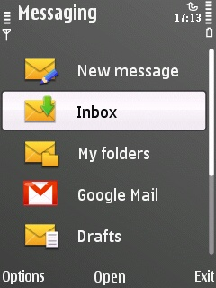 E55 E-mail application, accessing from the messging menu