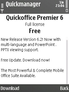Quick Office 6.2 upgrade offer