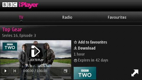 iPlayer on the E7