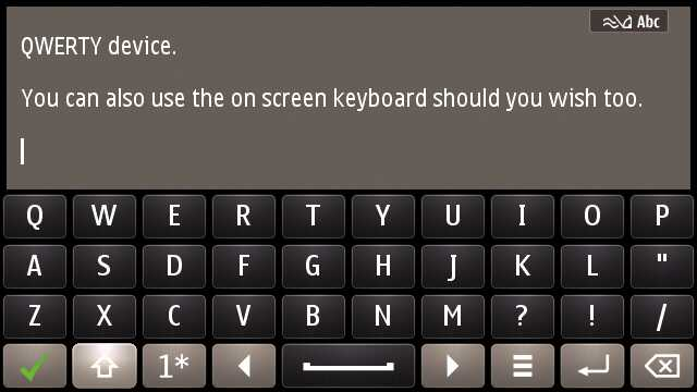 On-screen QWERTY keyboard on the E7