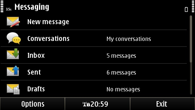 The Symbian^3 Messaging application