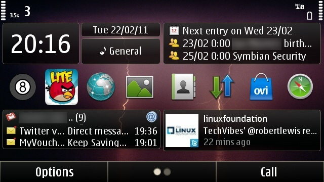 The default Calendar widget, top-right.