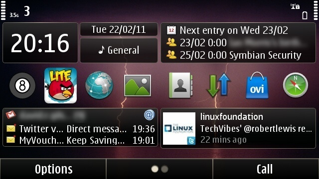 The Nokia Social widget in action