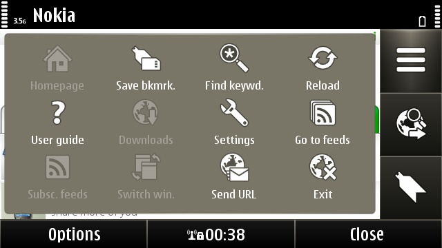 The main graphical menu of the Symbian web browser