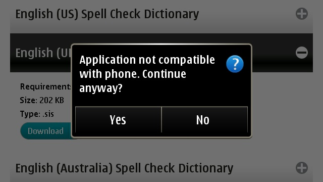 Error while installing spell check dictionary