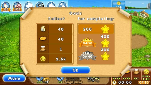 A typical set of targets for a level in Farm Frenzy 2