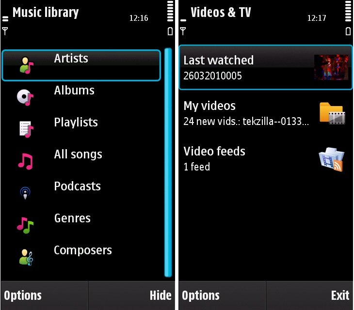 N97 - Music & video libraries