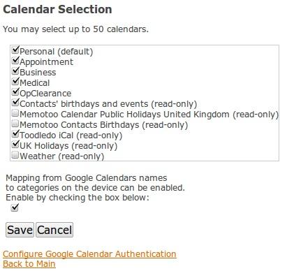 NuevaSync's Google calendar selection page
