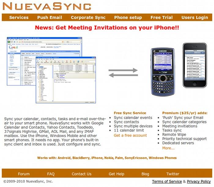 NuevaSync homepage