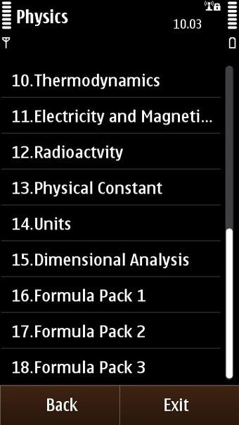 Physics Reference's topic list