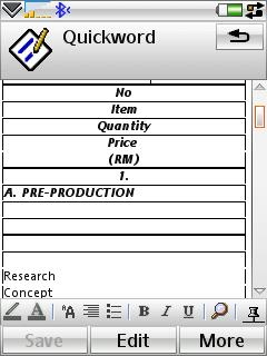 Tables in old Quickoffice 3.6
