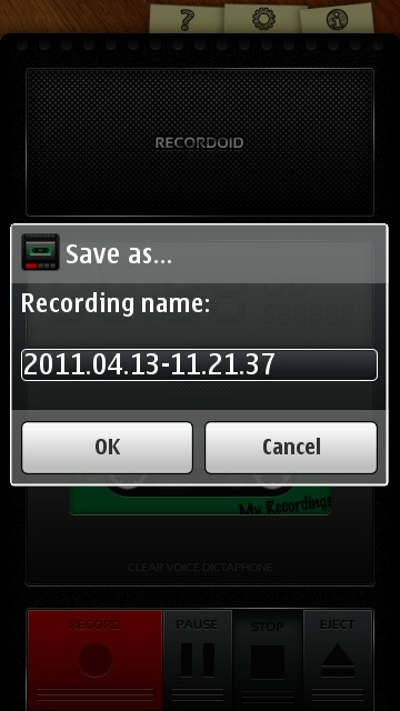 Recordoid's file name dialogue.