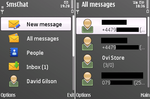 Main menu and conversation list in SMS Chat