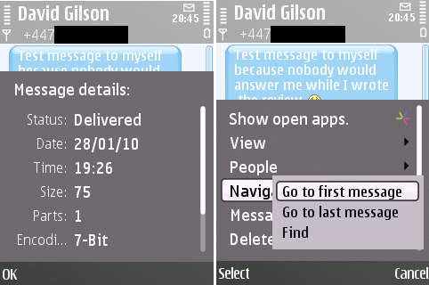 Message details and conversation navigation in SMS Chat