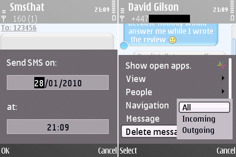Message scheduling and selective deletion in SMS Chat