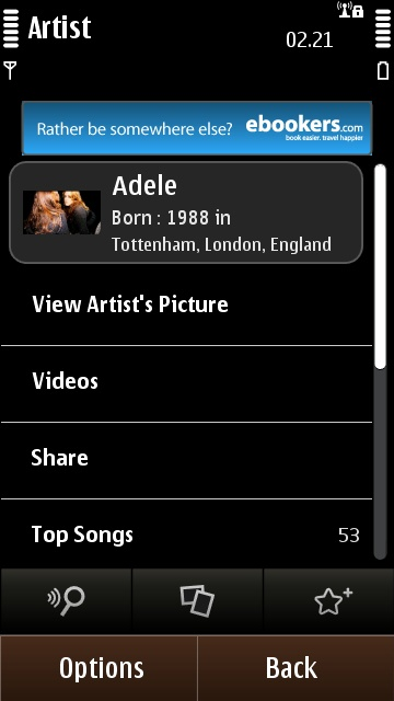 Artist information in SoundHound