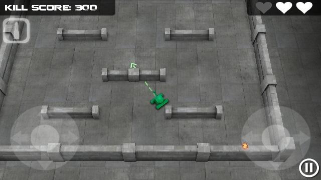 Tank Hero's mult-touch dual joystick user interface